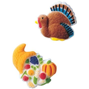 Thanksgiving Fall Turkey Cornucopia Sugar Decorations Cookie Cupcake Cake 12 (Decorating A Turkey)