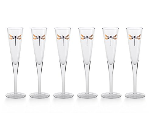 ''Libelle'' 10.25'' Tall Flute Champagne Glass, Dragonfly Design by Zodax