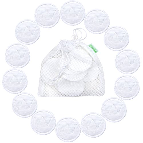 14 Pack Wegreeco Bamboo Makeup Remover Pads with Laundry Bag - Chemical free, Reusable Soft Facial and Skin Care Wash Cloth Pads (Bamboo Cotton, White)