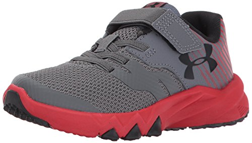 Under Armour Boys' Pre School Primed 2 Adjustable Closure Sneaker, Graphite (100)/Red, 1