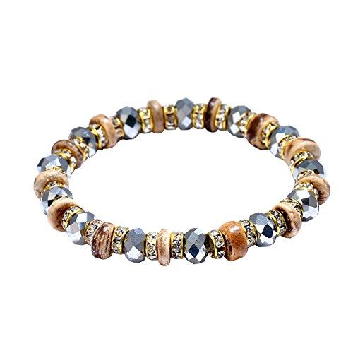 Wintefei Ethnic Women Round Coconut Shell Rhinestone Beads Bracelet Elastic Wrist Jewelry - Grey - 2 Prong Setting Round Bracelet