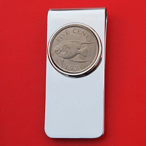 1970 Bermuda 5 Cent BU Uncirculated Coin Solid Brass Money Clip New - Queen Angel Fish