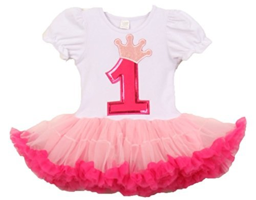 Amazon.com: Birthday Girl Tutu Sets Corona Applique para ...