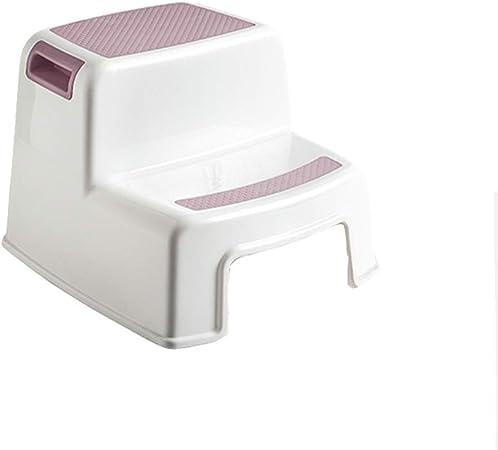 Mal Taburetes Taburete de Doble escalón, Inodoro para niños reposapiés con reposapiés lavabos para el baño Antideslizante Escalera Ascendente peldaño con escalones Silla 2 Colores Opcional: Amazon.es: Hogar