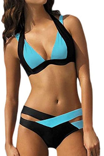 ReachMe Womens Cross Double Colored Padded Push Up Halter Bikini Swimsuit(2 Blue XL)