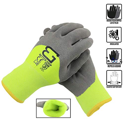 Grip Insulated Rubber Coated Gloves - Better Grip BGWANS3/4 Safety Winter Insulated Double Lining Rubber Latex 3/4 Coated Work Gloves, 3 Pairs/Pack (Large, Lime)