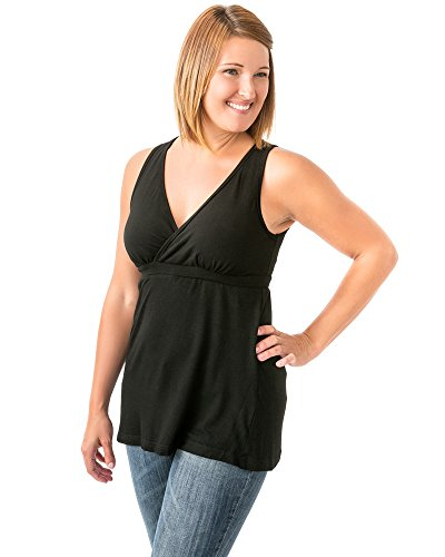 Kindred Bravely Ultra Soft French Terry Nursing Tank Top for Maternity/Breastfeeding (Black, X-Large)