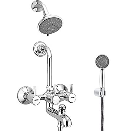ALTON GRACE 3830 Brass 3-in-1 Wall Mixer and 125 mm Bend Pipe and Mist and Massage Flow and Hand Shower with Grade Flexible Tube and Hook (Chrome)