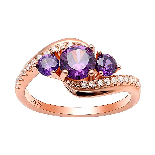 Ginger Lyne Collection Brielle Rose Gold Over Sterling Silver 3 Stone Purple CZ Birthstone Engagement Ring Size 7 (Brielle Collection)