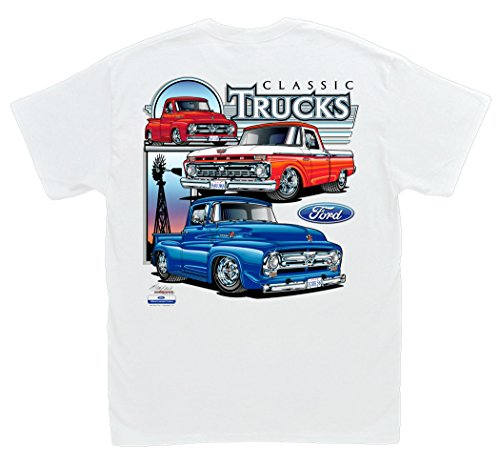 Hot Shirts Ford Classic Trucks White T-Shirt: Large - Pickup F-100 Y Block 1966 1955 1956