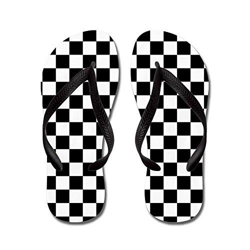 CafePress - Checkered Flag - Flip Flops, Funny Thong Sandals, Beach Sandals Black