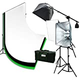ePhoto 3pcs Chromakey Muslin Background Backdrop Support Stand & Complete 3200 Watt Video Photography Studio Lighting Kit H604SB2-69BWG