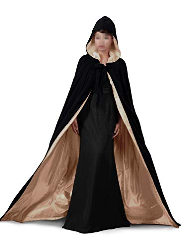 Black Gold Halloween Grim Reaper Hood Cloak Witch Medieval Cape Robe Cosplay Costumes -