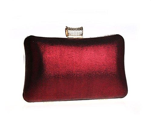 Burgundy Inlaid Bag Glossy Purse Rhinestone Women Shape Clutch V Evening zHUEIwx