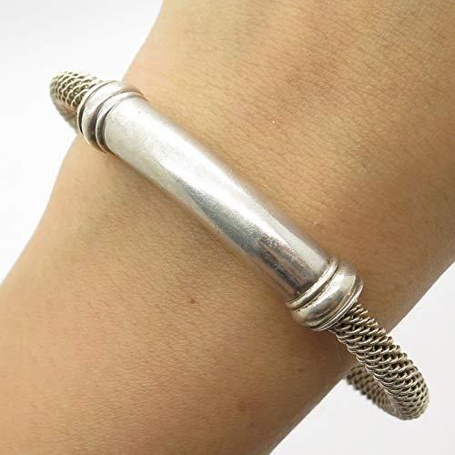 - J. Esposito 925 Sterling Silver Wide Round Mesh Cuff Bracelet 6.5