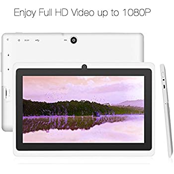 Yuntab 8GB Y88 7 inch Tablet Google Android 4.4 Quad-core Tablet PC HD 1024x600 Resolution Bluetooth with Dual Camera Google Play Pre-loaded External 3G Netflix, Skype, 3D Game Supported (White)