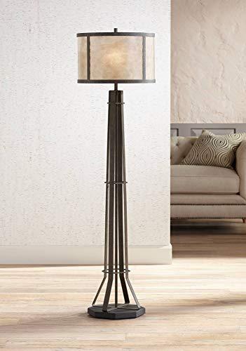 Winston Industrial Floor Lamp Textured Rustic Bronze Blonde Natural Mica Shade for Living Room Reading Bedroom Office - Franklin Iron - Finish Bronze Verde