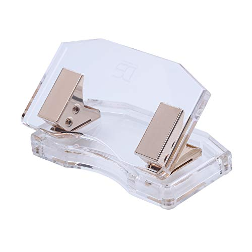 - Gold & Acrylic Clear 2 Holes Paper Punch by Draymond Story - 10 Sheets Capacity (Curved Model) - Anniversary Gifts Idea