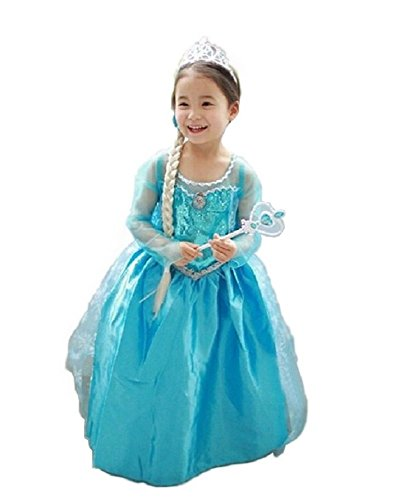 Coco Halloween Costumes (Salesland Anna and snow queen Elsa style dress 4 piece set (dress, tiara, stick, wig) 110 cm - 120 cm)