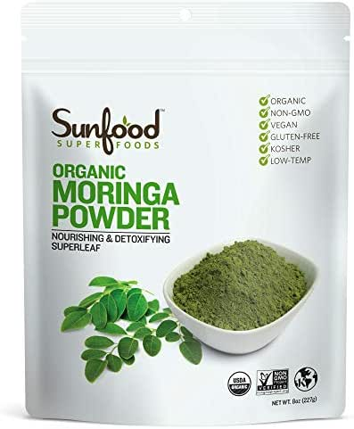 Sunfood Superfoods Moringa Powder. Whole Food Nutrient Dense Super-Leaf. Organic, Non-GMO, Gluten-Free. 8 oz Bag