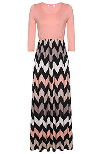 ANGVNS Womens Fashion 3/4 Sleeve Casual Contrast Color Striped Maxi Dress ,Orange,Size- XX-Large