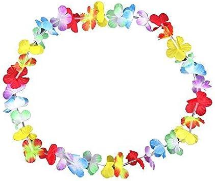 Schramm® 50 Piezas Cadenas de Flores Multicolor Cadena de Flores de Colores Collar Hawaiano Paquete de 50