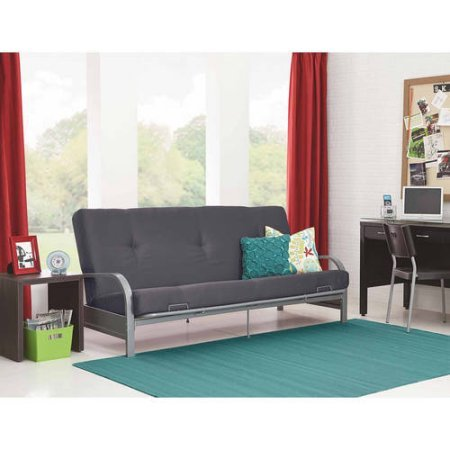 Mainstays Silver Metal Arm Futon Frame with Full Size Mattress, Gray