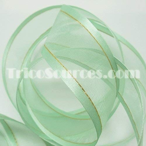 Organza Ribbon With Side Gold Line 1.5
