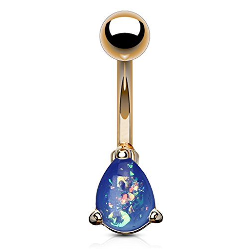 Ring Belly Teardrop Flower (Fifth Cue 14G Opal Glitter Teardrop Prong Set Rose Gold IP Over 316L Surgical Steel Navel Belly Button Ring (Blue))
