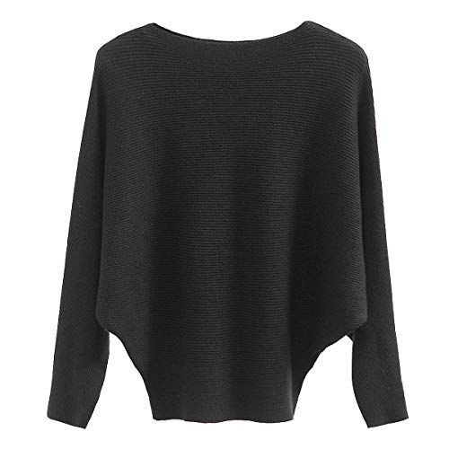 (GABERLY Boat Neck Batwing Sleeves Knitted Sweaters and Pullovers Tops for Women (Black, One Size))