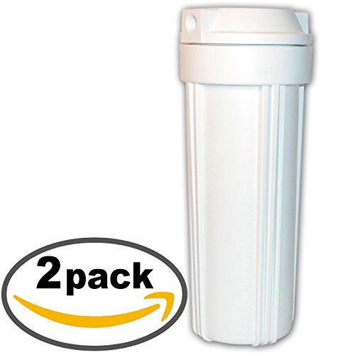 2-Pack | Filter Housing for 10'' Standard Water Filter | White/White, 1/4'' in/out | AMI Brand H-H14FWW33 | Home RO Pretreatment Housing