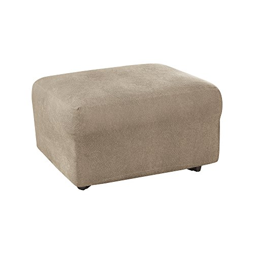 - Sure Fit Ultimate Heavyweight Stretch Leather Ottoman Slipcover - Rustic Birch (SF44909)