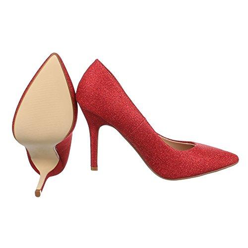 Ital-Design Damen Schuhe High Heels Plateau High Heel Pumps Pfennig-/Stilettoabsatz Rot 9968-8