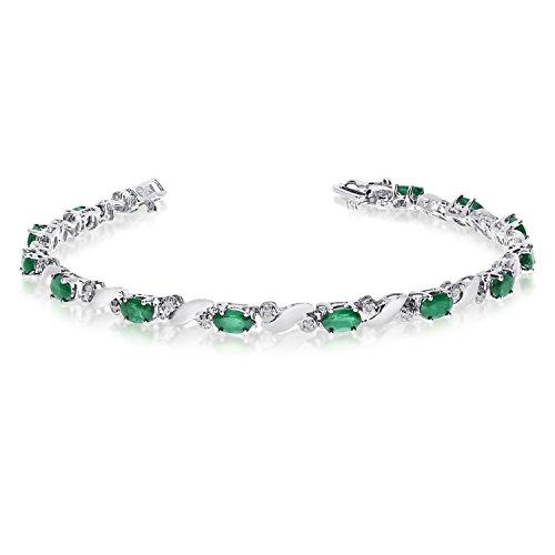 "2.08 Carat (ctw) 14k White Gold Oval Green Emerald and Diamond Swirl Tennis Bracelet - 7"" Length"