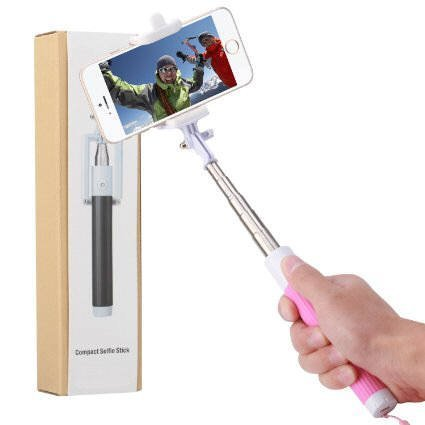 Cell-Stuff Compact Pink Extendable [Bluetooth] Wireless Self Portrait Selfie Stick Stick Handheld Monopod with Shutter Controls Button on Handle Compatible w/Moto G7 Power by Cell-stuff (Image #2)