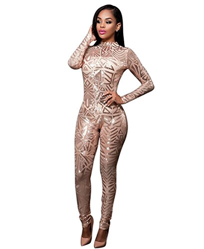 Women's Long Sleeve Sequins See Through Cocktail Club Jumpsuit Bodysuit Gold L