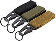 Belt Hook Key Holder 3pcs Tactical Belt Military Style Webbing Riggers Web with Heavy-Duty Quick-Release Metal