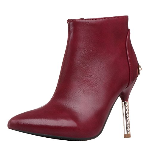 Latasa Womens Pointed-toe Stiletto High Heel Dress Booties Date Red xN5Db5KNHB