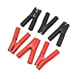 uxcell 3 Pair Red Black Battery Insulated Positive Negative Electrode Alligator Clamps Clips for Car