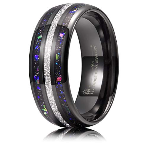 THREE KEYS JEWELRY 8mm Men's Tungsten Rings Black Carbide Galaxry Opal Stone Imitated Meteorite Black Sand Inlay Wedding Bands for Men Size 11
