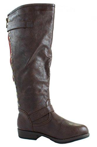 Glasur Womens Jasmin-1 Faux Lær Støvler Med Hel Glidelås Bak Og Studs Brune