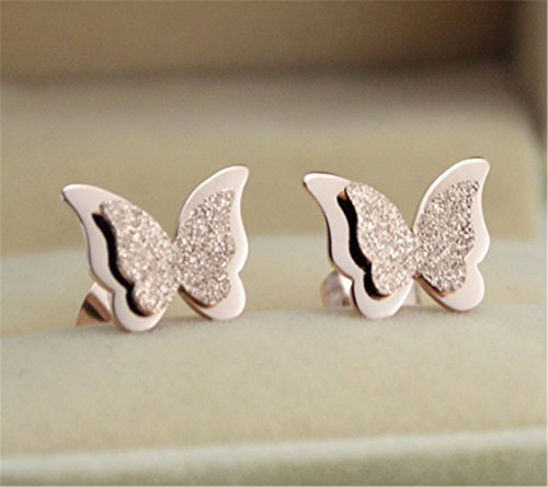 P.phoebus 18K Rose Gold Butterfly White Swarovski Crystal Studs Earrings Rhinestones Dangle Charms Hoops For Women Girls (earrings)