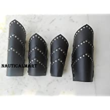 LEATHER GREEK ARMOR VAMBRACE COLLECTIBLE LEG & ARM GUARDS- CHRISTMAS GIFT ROMAN SPARTAN LEATHER ARMOR LEG & ARM GUARDS SET VAMBRACE ARCHERY BRACERS LARP BY NAUTICALMART
