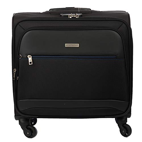 Aristocrat Concord 4 Wheel Overnighter Trolley  Black  Expandable Cabin Luggage   18 inch   Black