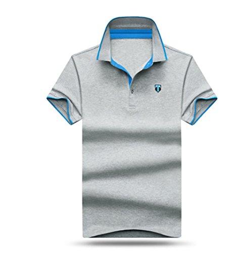 メンズ ポロシャツ 半袖 Tシャツカジュアル 紳士ポーツゴルフ シャツおしゃれ 2018人気 部屋着 吸汗速乾トップス無地 (グレー, XL)