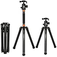 COMAN MT70 Portable Travel Tripod Aluminum Alloy Lightweight 62.2 inches with 360 Degree Ball Head for DSLR Camera and youtube video