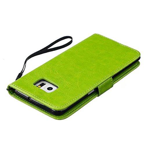 JIALUN-Personality teléfono shell Samsung S6 edge Plus funda, cubierta de la caja de cuero de alta calidad Premium PU Color sólido cubierta de la caja de soporte de la cartera grabadora del diente de  Green