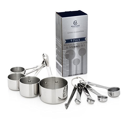 Madame Cuisine Stainless Steel Measuring Cups and Spoons Set