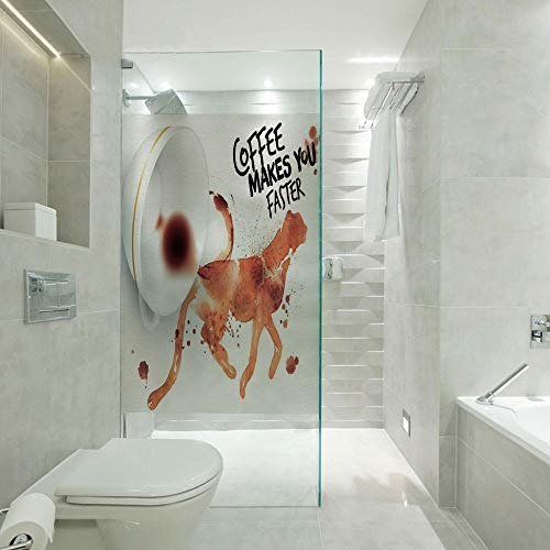 Privacy Window Film Frosted Glass Film,Coffee Makes You Faster Phrase with Espresso Splash Watercolor Art Decorative,Customizable size,Suitable for bathroom,door,glass etc,Burnt Sienna Black White (Burnt Sienna Glass)