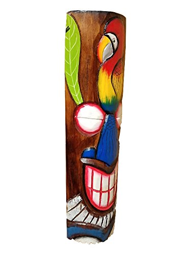 20'' Handcarved Wood Tiki Mask Hawaiian Beach Style Colorful Parrot